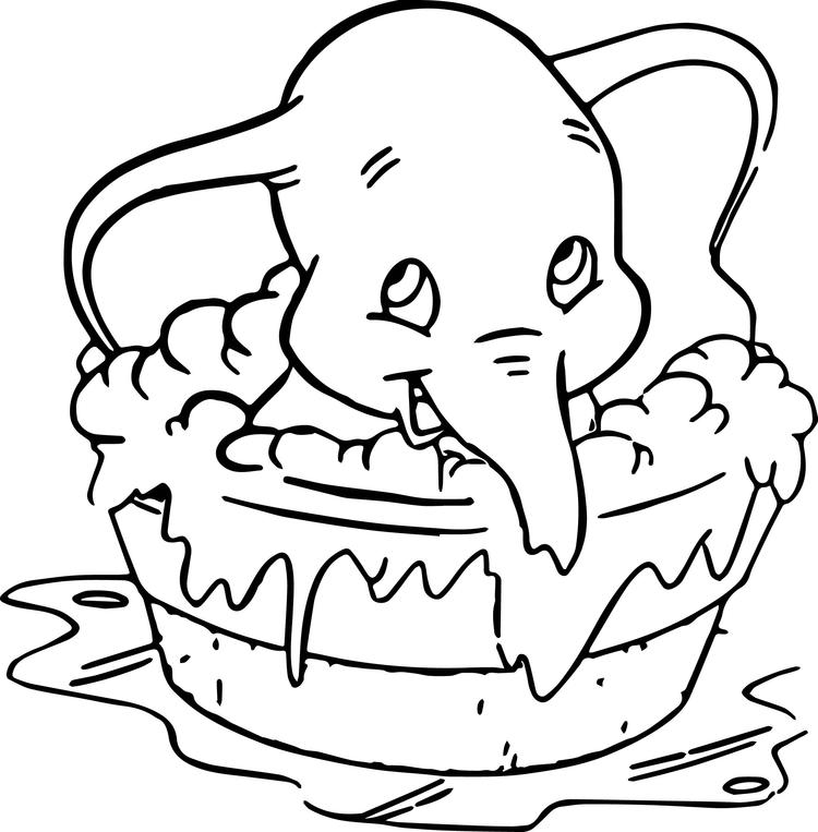 Dumbo Takes A Bath Coloring Pages