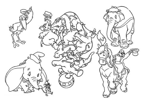 Dumbo The Elephant All Characters Coloring Pages