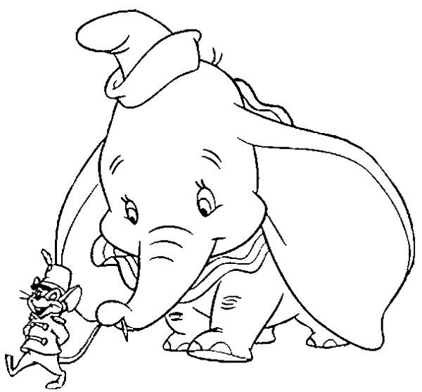 Dumbo The Elephant Hold Timothys Tail Coloring Pages