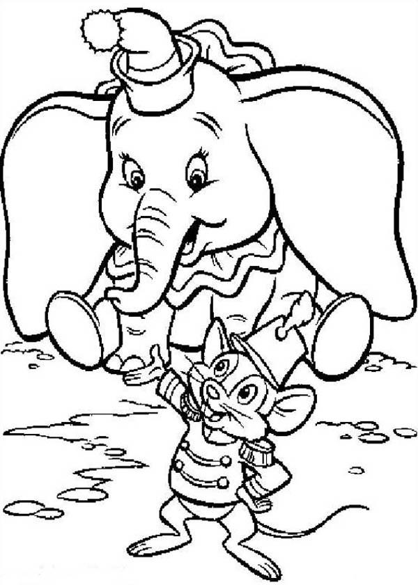 Dumbo The Elephant Listen To Timothy Coloring Pages