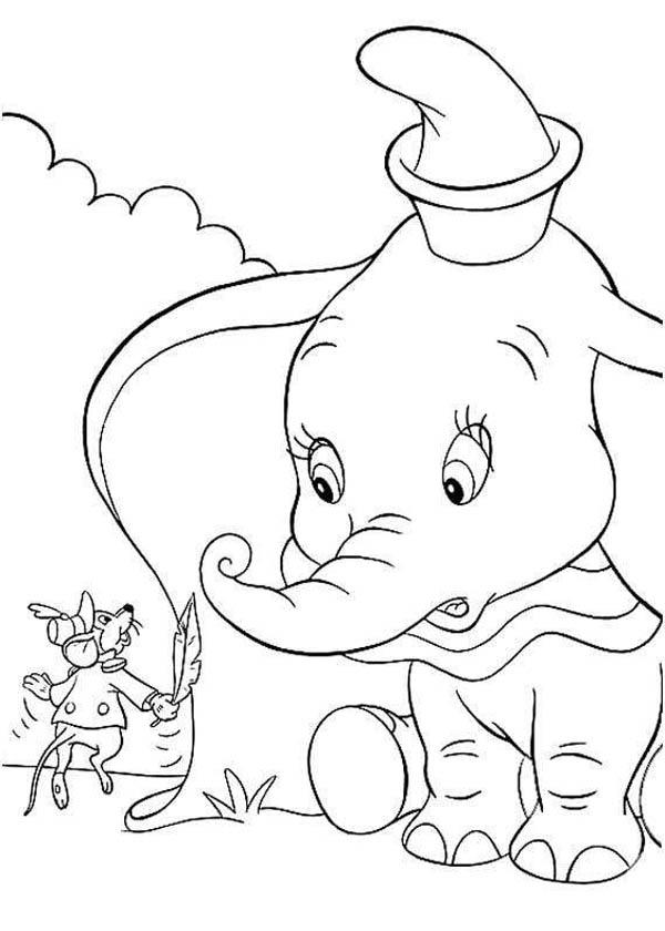 Dumbo The Elephant Look Surprised To Timothys Word Coloring Pages