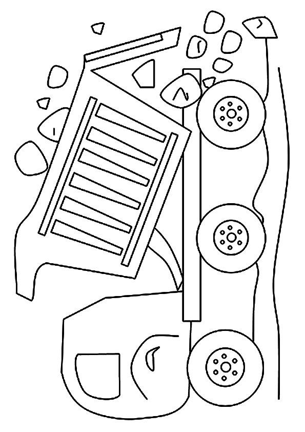 Dump Truck Coloring Pages Dumping Rocks