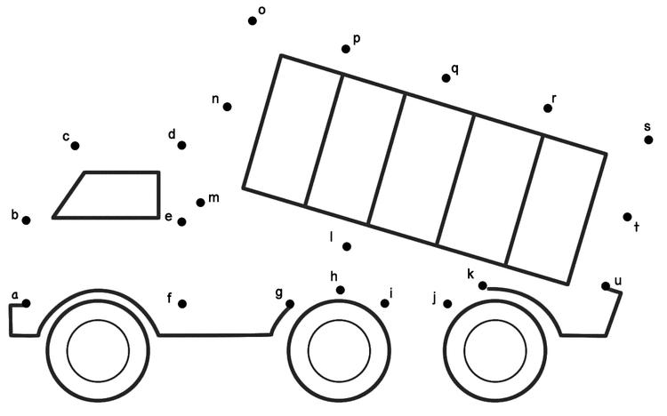 Dump Truck Connect The Dots Print Out Drawing