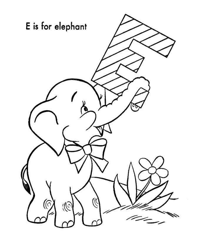 E Is For Elephant Animal Alphabet Coloring Pages