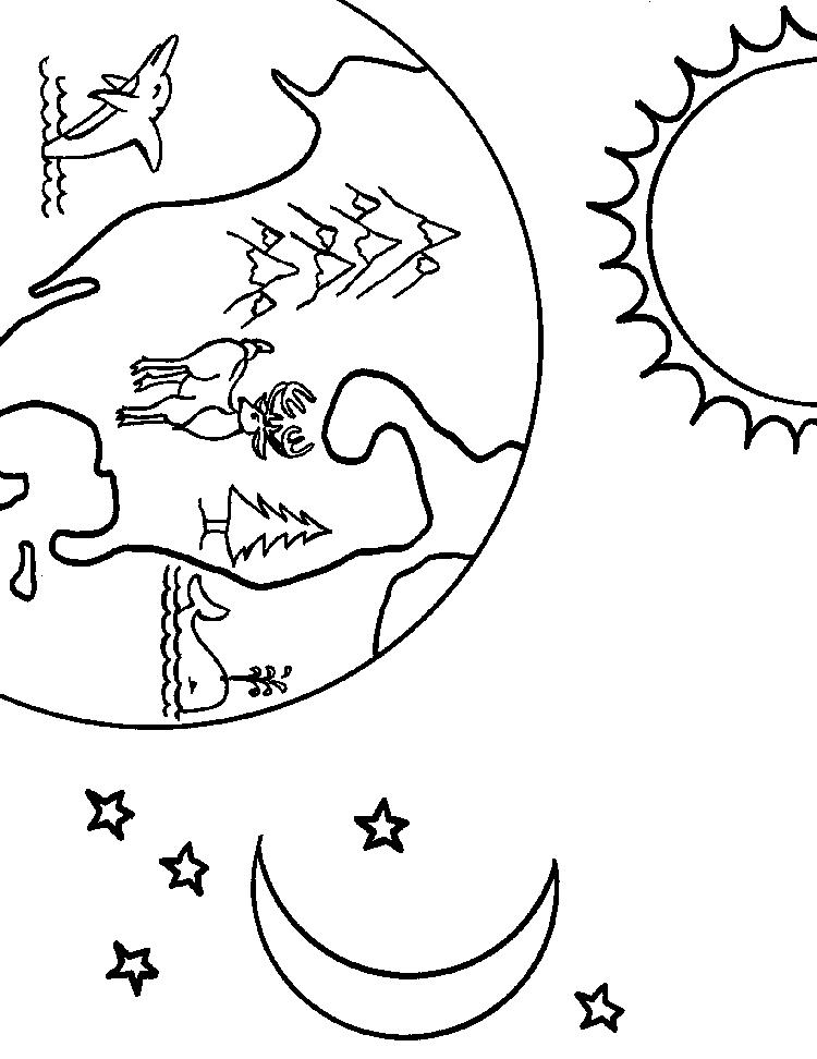 Earth Coloring Pages Moon Stars Sun