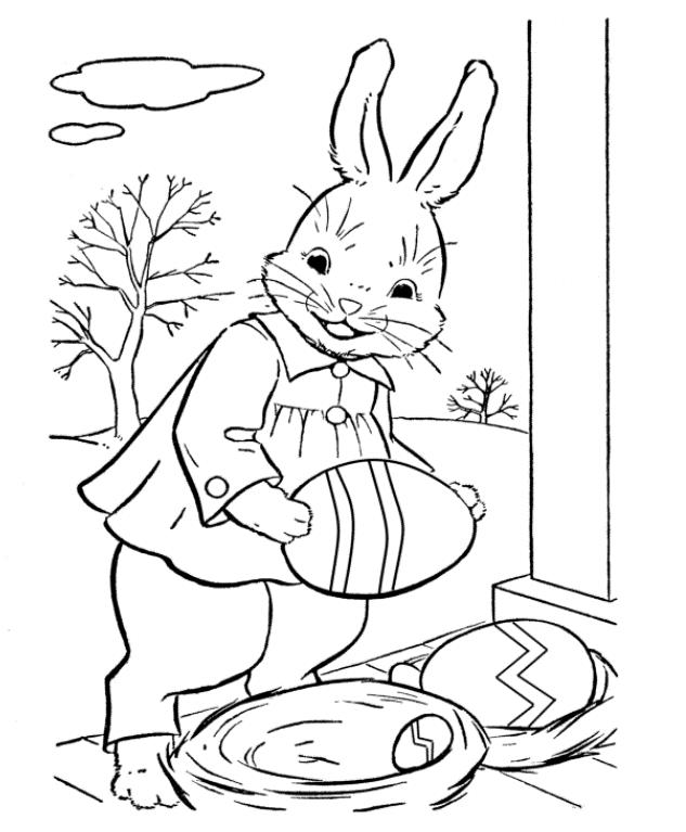 Easter Bunny And Easter Eggs Coloring Page