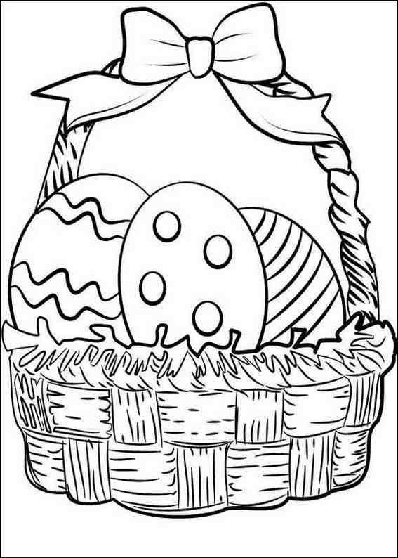 Easter Coloring Pages Egg In Basket