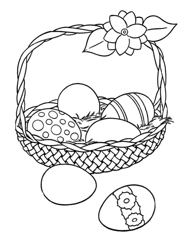 Easter Coloring Pages Eggs In The Basket