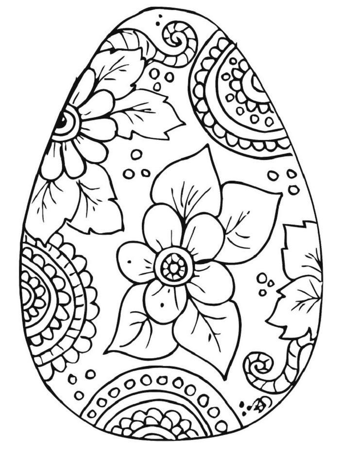 Easter Egg Flower Coloring Pages