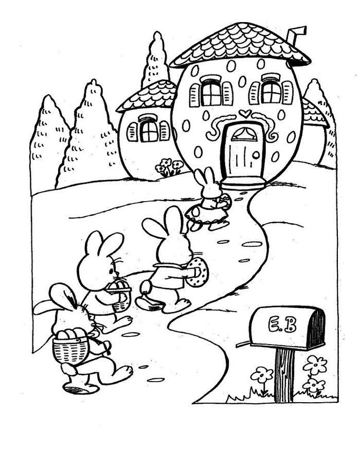 Easter House Coloring Pages