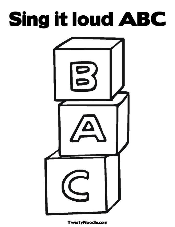 Easy Abc Blocks Coloring Pages