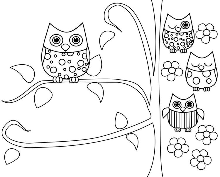 Easy Adult Coloring Pages Printable Owl