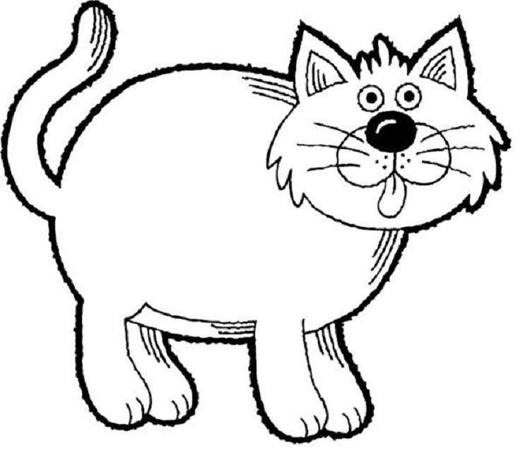 Easy Cat Coloring Pages