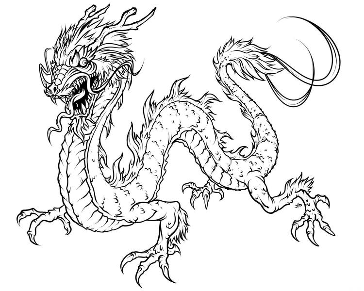 Easy Chinese Dragon Coloring Pages