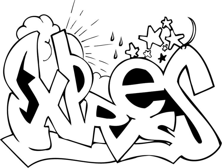 Easy Coloring Pages For Teenagers Graffiti