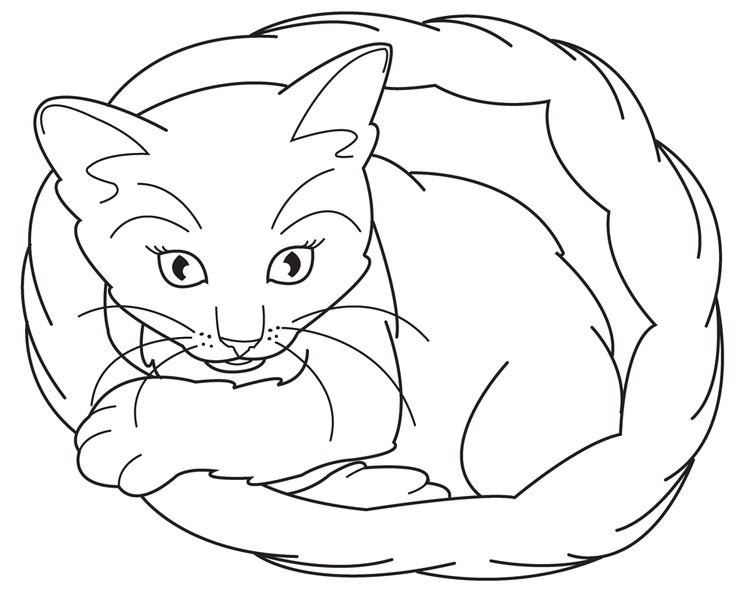 Easy Cute Cat Coloring Pages 1