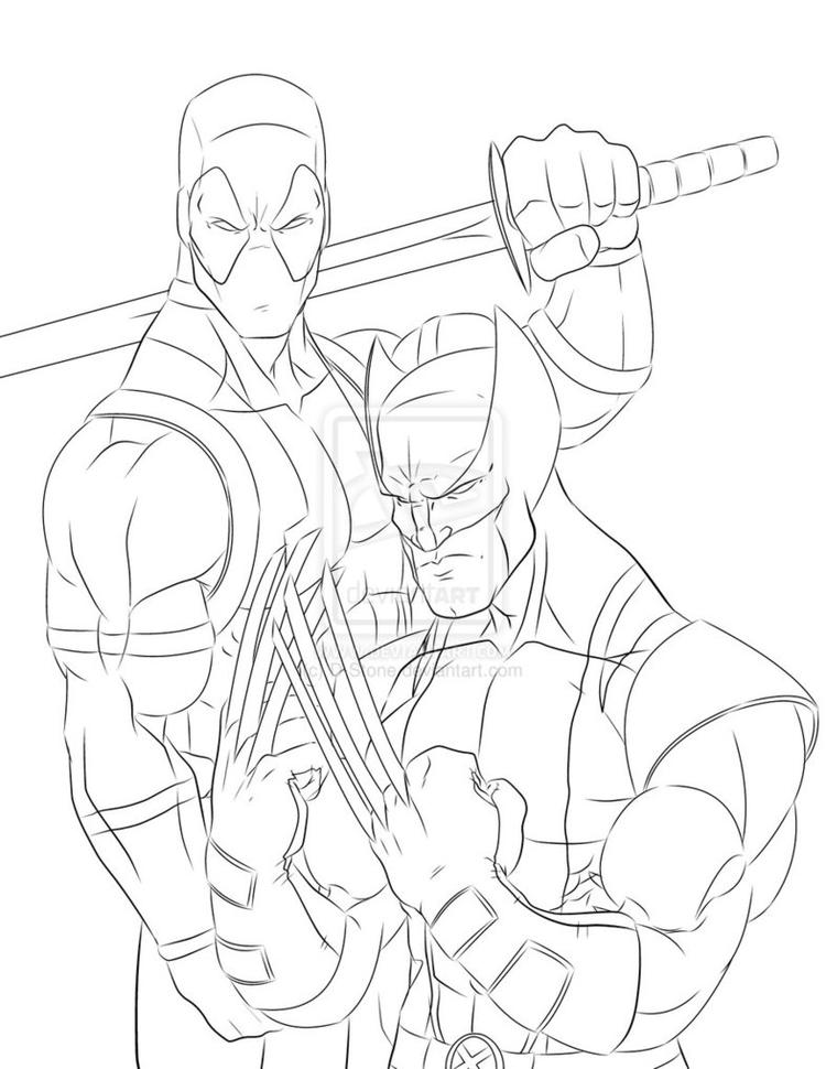 Easy Deadpool And Wolverine Coloring Pages 1