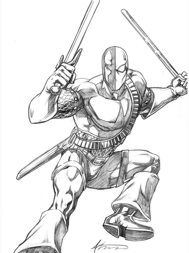 Easy Deathstroke Coloring Pages Arkham Origins 3