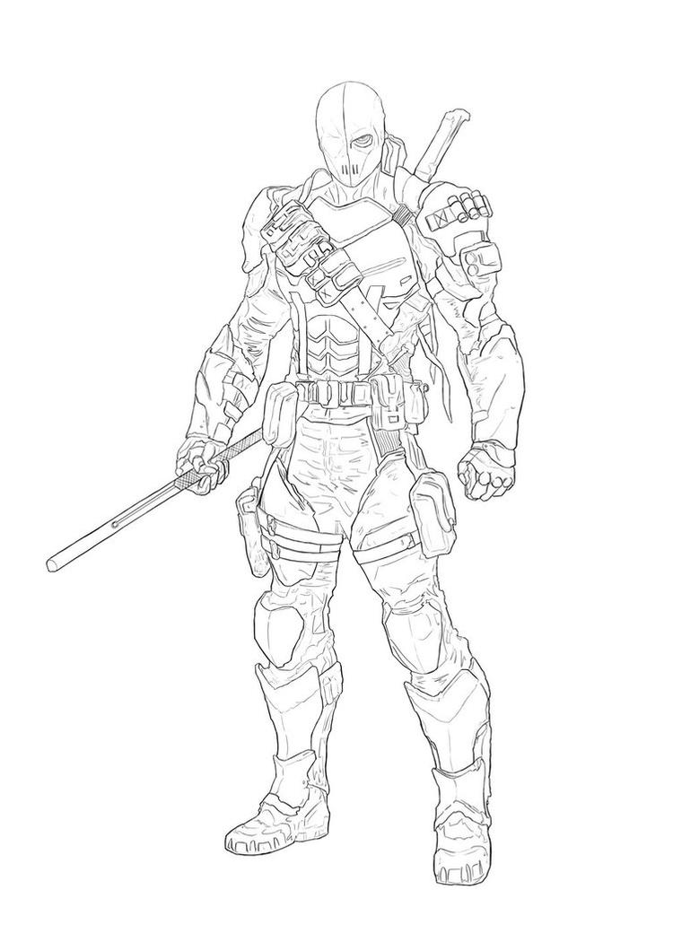 Easy Deathstroke Coloring Pages Arkham Origins