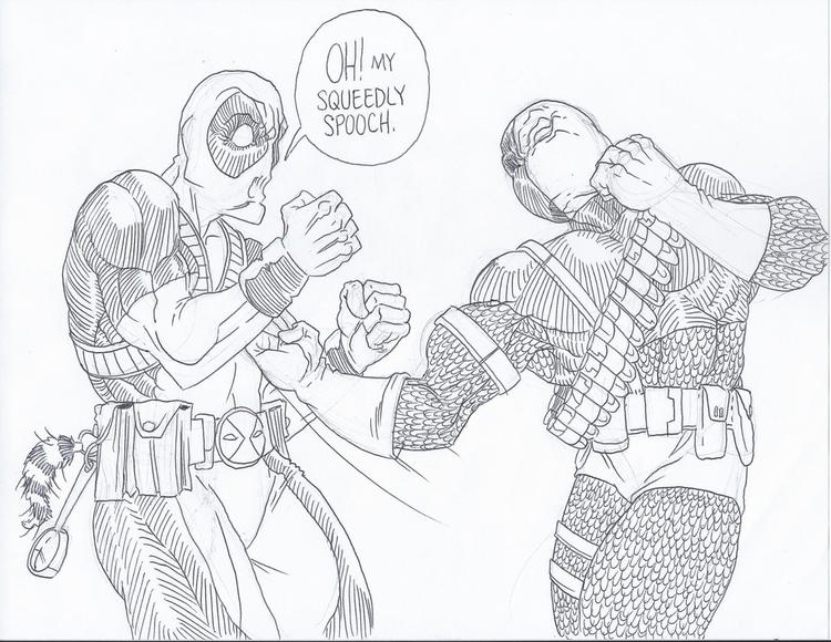 Easy Deathstroke Vs Deadpool Coloring Pages 1