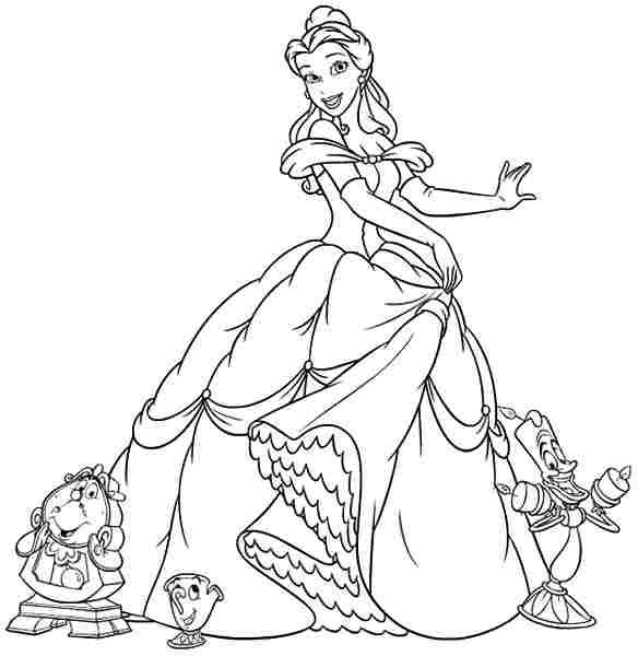 Easy Disney Princess Belle Coloring Pages