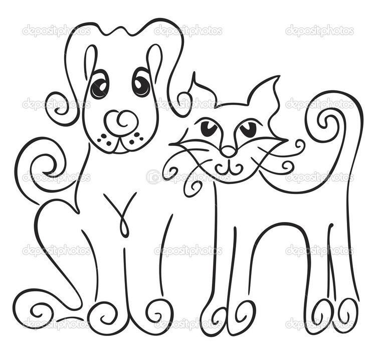 Easy Dog And Cat Coloring Pages