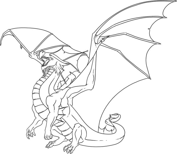 Easy Dragon Adult Coloring Pages Printable