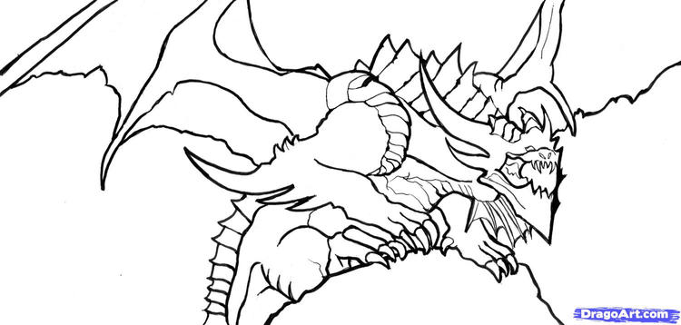 Easy Dragon Head Coloring Pages