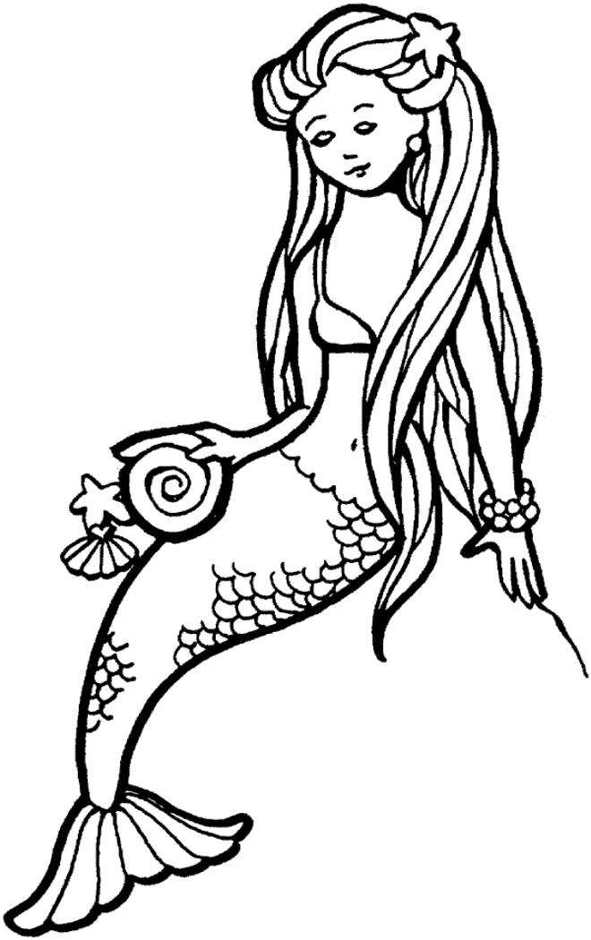 Easy Free Printable Mermaid Coloring Pages For Kids