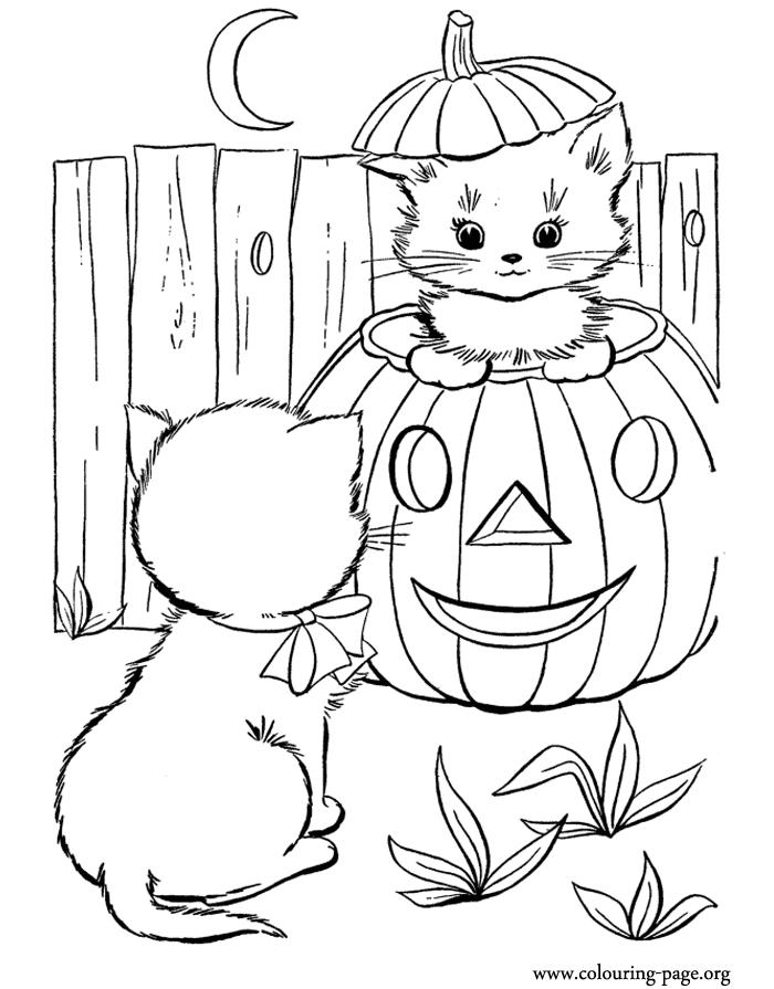 Easy Halloween Cat Coloring Pages