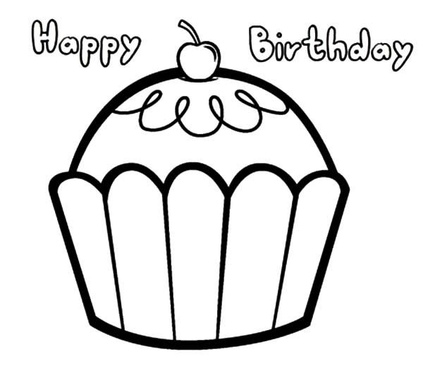 Easy Happy Birthday Cupcake Coloring Pages