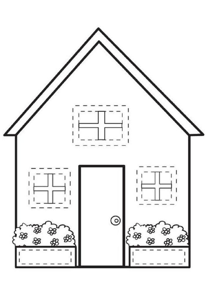 Easy House Coloring Pages