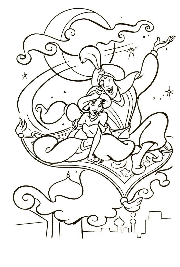 Easy Jasmine And Aladdin Coloring Pages 1