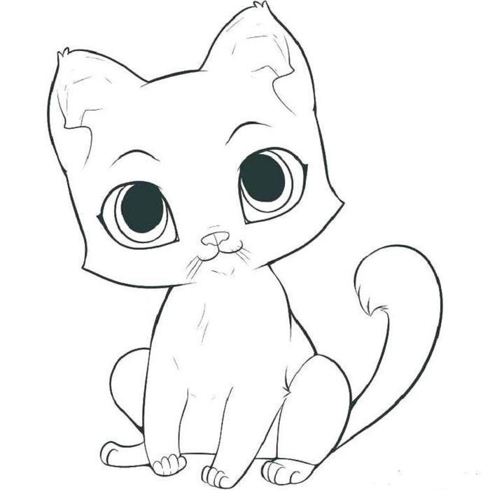 Easy Kittens Coloring Pages