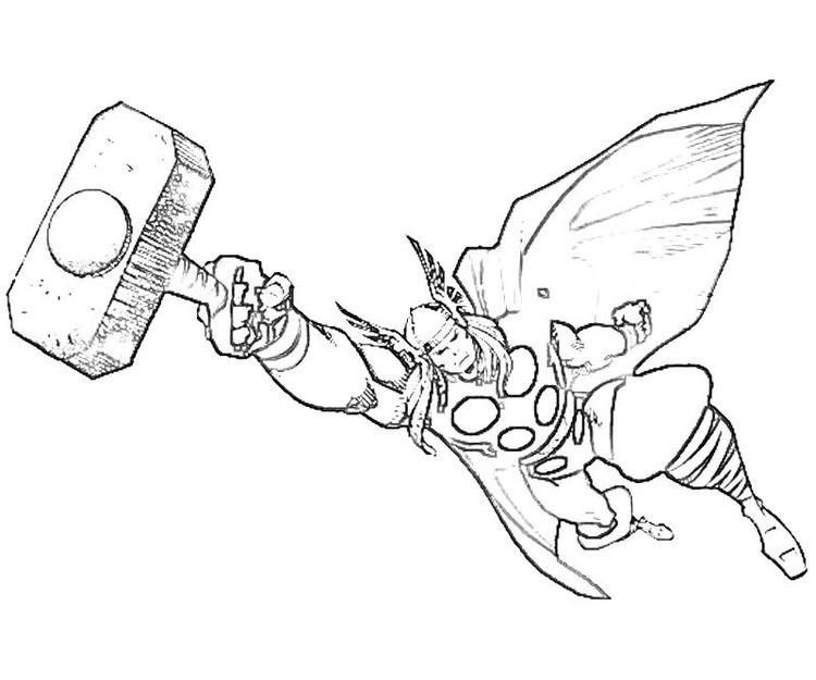 Easy Marvel Coloring Pages Thor 1