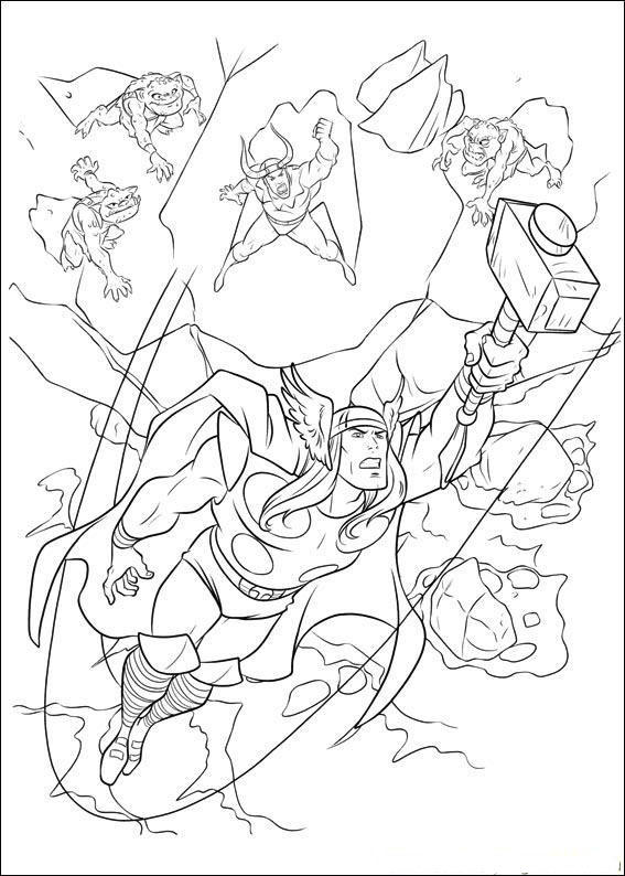 Easy Marvel Coloring Pages Thor 2
