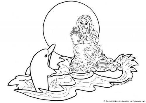 Easy Mermaid Dolphin Coloring Pages