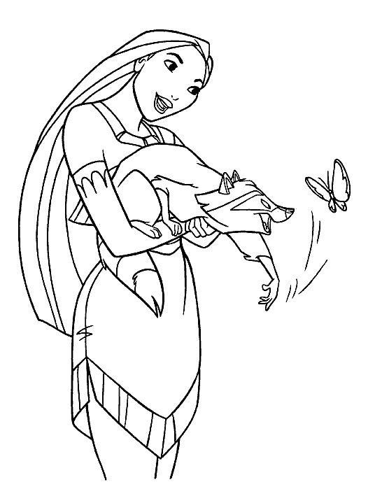 Easy Princess Pocahontas Coloring Pages 1