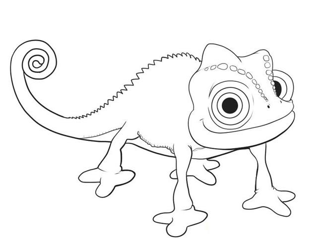 Easy Rapunzel And Pascal Coloring Pages
