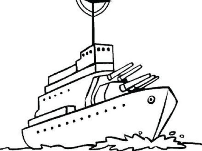 Easy Warship Coloring Pages
