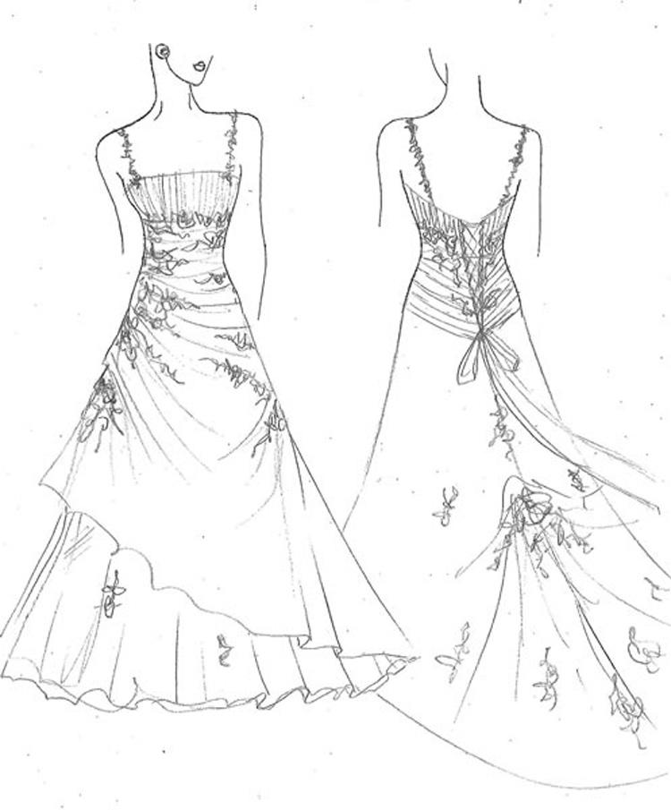 Easy Wedding Dress Coloring Pages 2