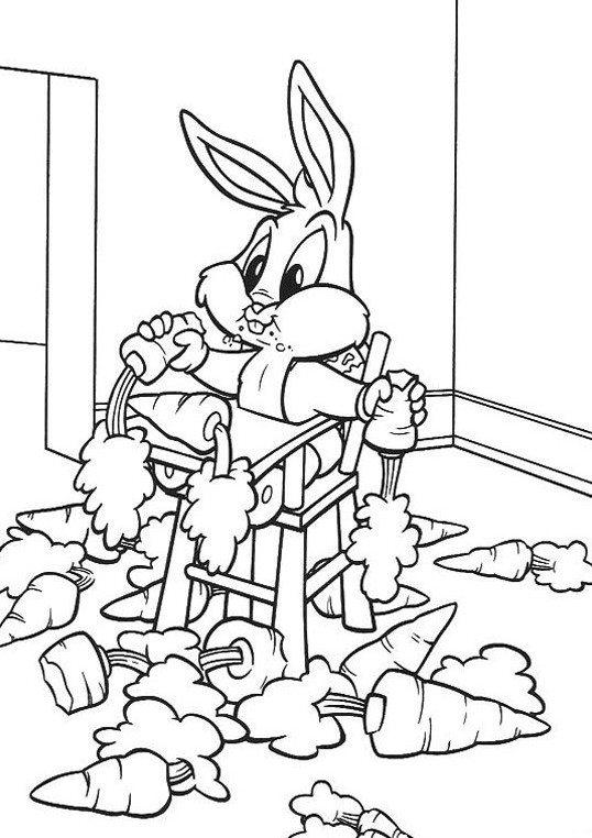 Eating Carrots Baby Looney Tunes Coloring Pages Free