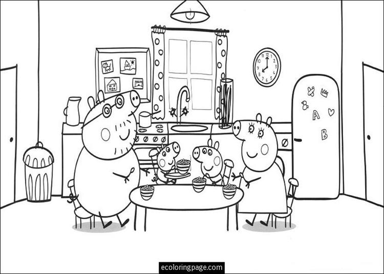 Eating Peppa Pig Birthday Coloring Pages