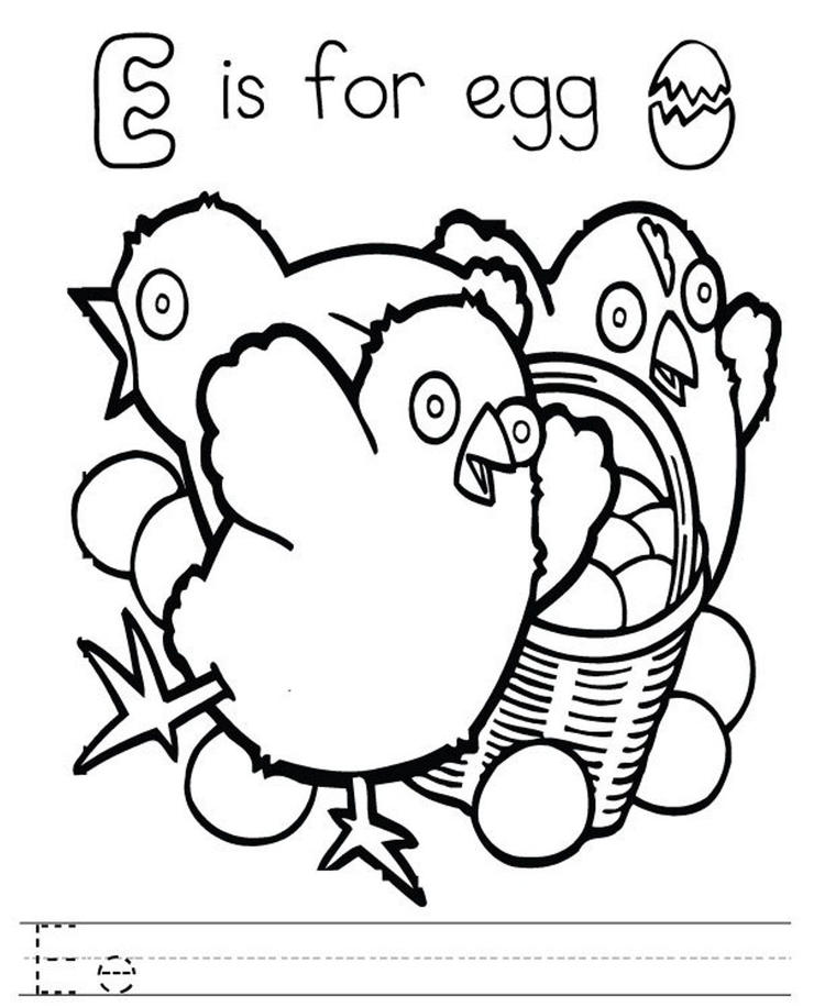 Egg Alphabet Coloring Pages Free
