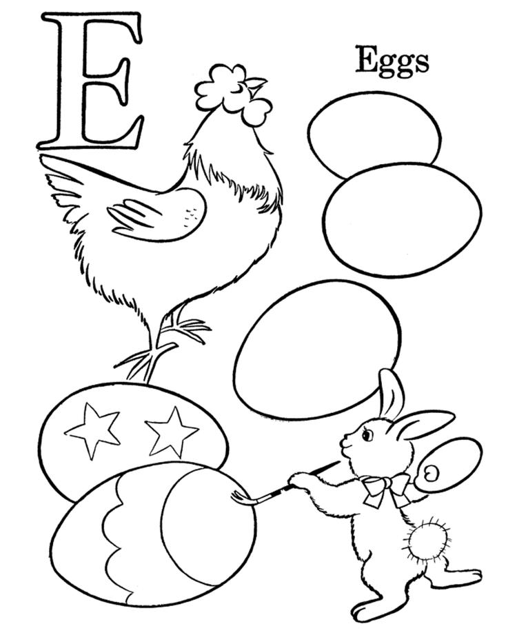Egg Easter Alphabet Coloring Pages Free