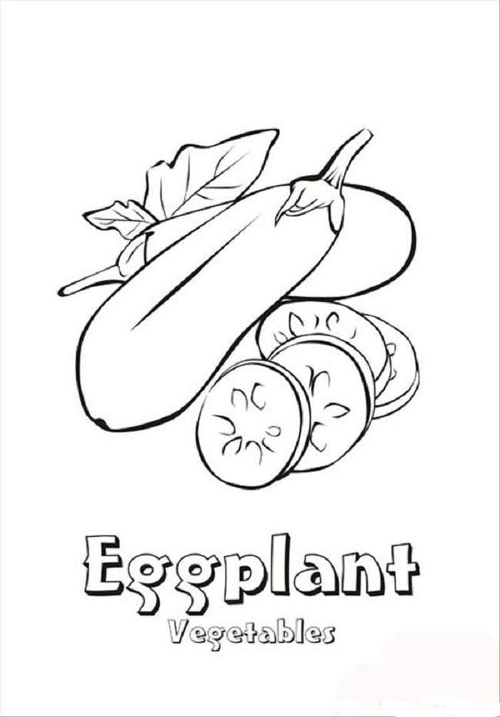 Eggplant Vegetables Coloring Pages