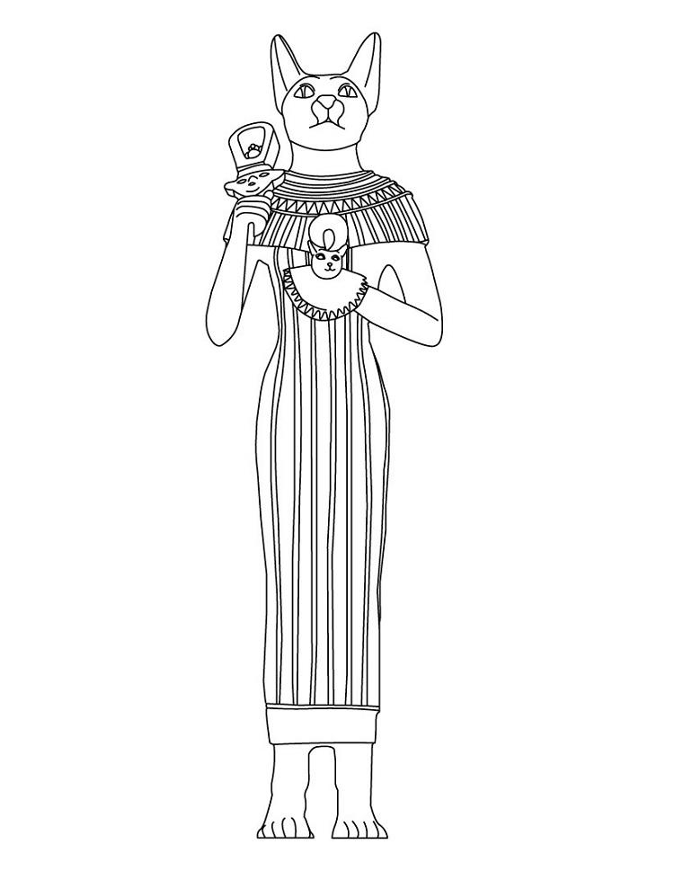Egyptian Cat Coloring Pages