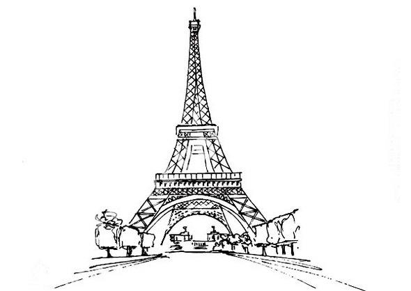 Eiffel Tower And The View Coloring Page
