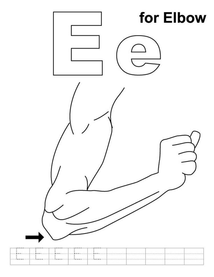 Elbow Alphabet Coloring Pages Free