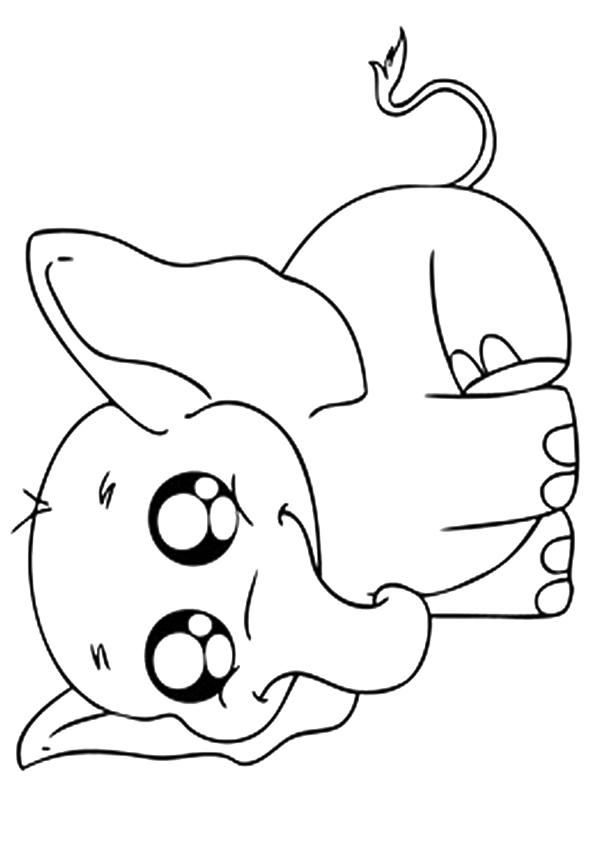 Elephant Coloring Pages Cute Baby Elephant